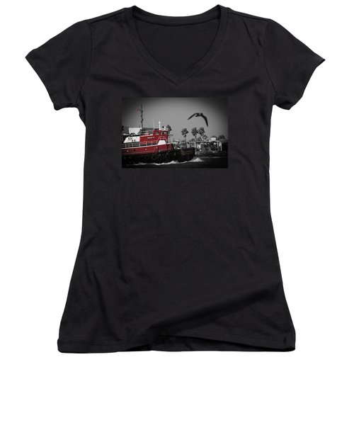 Red Pop Tugboat Women's V-Neck T-Shirt