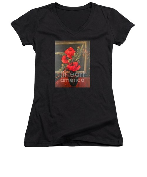Red Poppies Women's V-Neck T-Shirt (Junior Cut) by Glory Wood