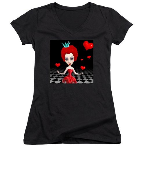 Red Queen Of Hearts Women's V-Neck