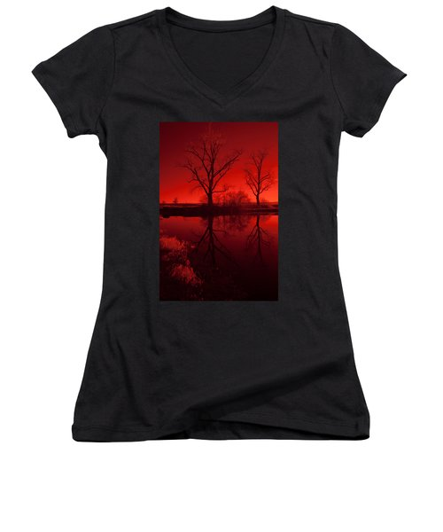 Red Reflections Women's V-Neck T-Shirt