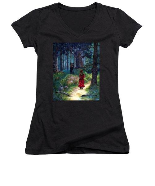 Red Riding Hood Women's V-Neck T-Shirt (Junior Cut) by Heather Calderon