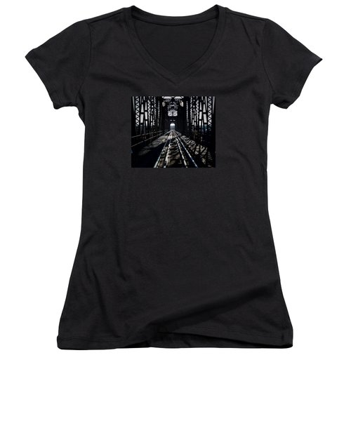 Women's V-Neck T-Shirt (Junior Cut) featuring the photograph Red River Rail Road Crossing by Diana Mary Sharpton