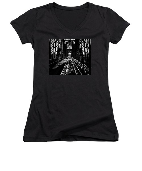 Red River Rail Road Crossing In Bw Women's V-Neck T-Shirt (Junior Cut) by Diana Mary Sharpton
