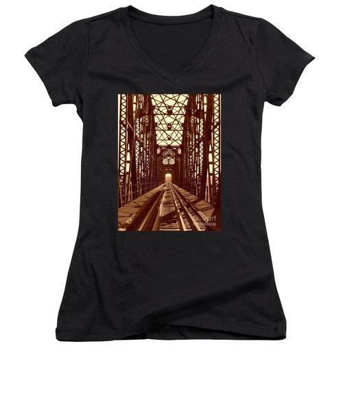 Women's V-Neck T-Shirt (Junior Cut) featuring the photograph Red River Train Bridge #1 by Robert ONeil