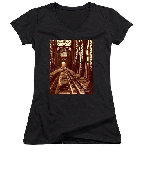 Women's V-Neck T-Shirt (Junior Cut) featuring the photograph Red River Train Bridge #2 by Robert ONeil