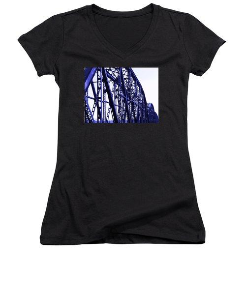 Women's V-Neck T-Shirt (Junior Cut) featuring the photograph Red River Train Bridge #5 by Robert ONeil
