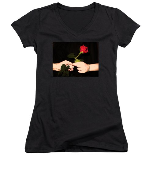 Red Rose By Jan Marvin Studios Women's V-Neck (Athletic Fit)