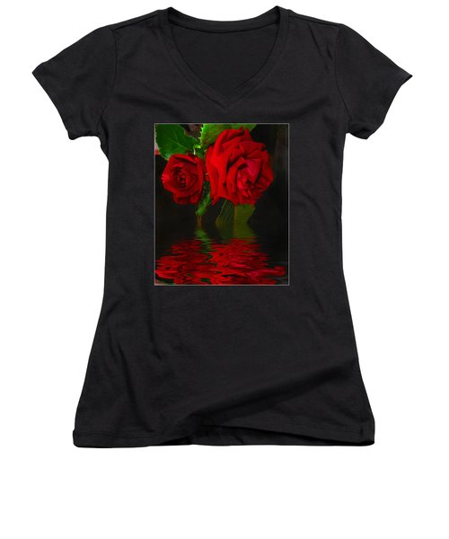 Red Roses Reflected Women's V-Neck T-Shirt (Junior Cut) by Joyce Dickens