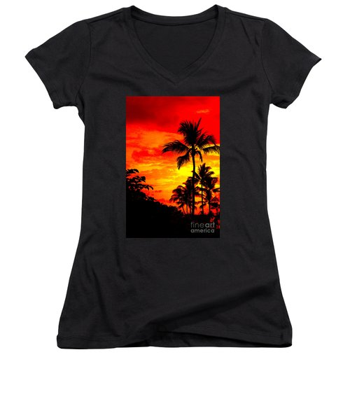 Women's V-Neck T-Shirt (Junior Cut) featuring the photograph Red Sky At Night by David Lawson