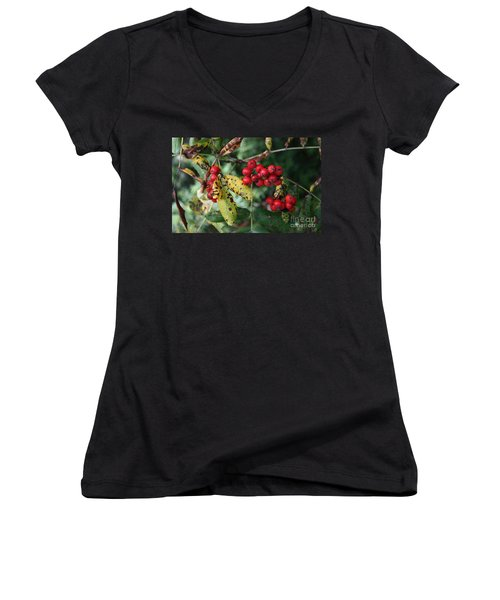Women's V-Neck T-Shirt (Junior Cut) featuring the photograph Red Summer Berries - Whistler by Amanda Holmes Tzafrir