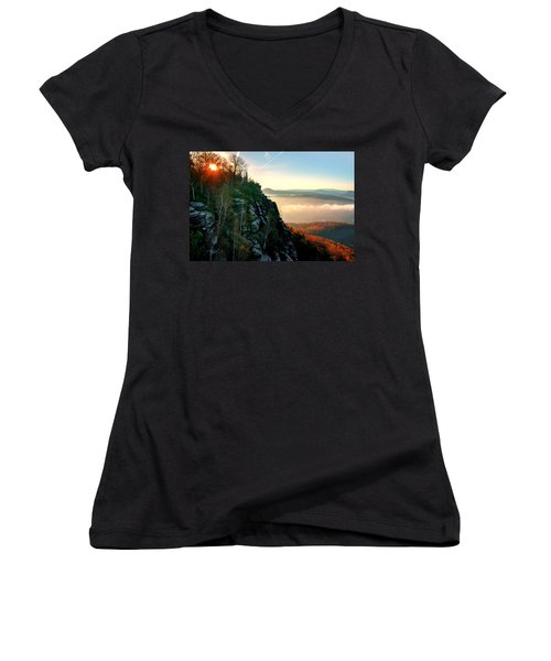 Red Sun Rays On The Lilienstein Women's V-Neck
