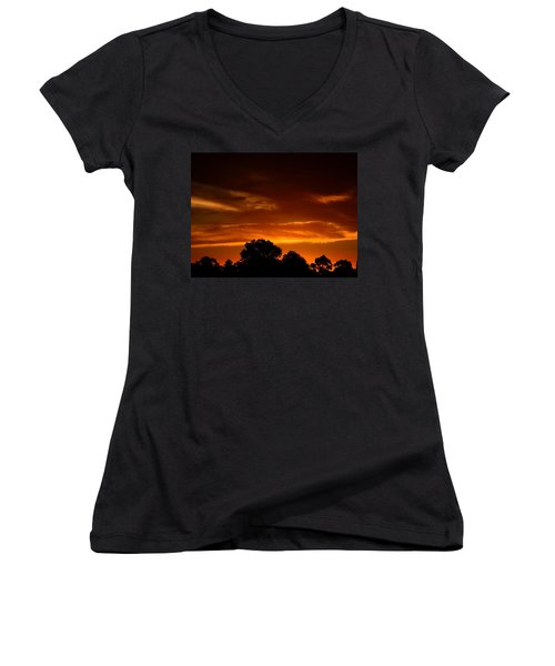 Red Sunset Women's V-Neck (Athletic Fit)