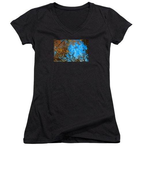 Red-tailed Hawk Women's V-Neck T-Shirt (Junior Cut) by Sandi OReilly