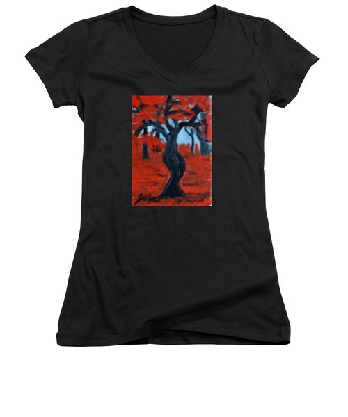 Red Trees Women's V-Neck (Athletic Fit)