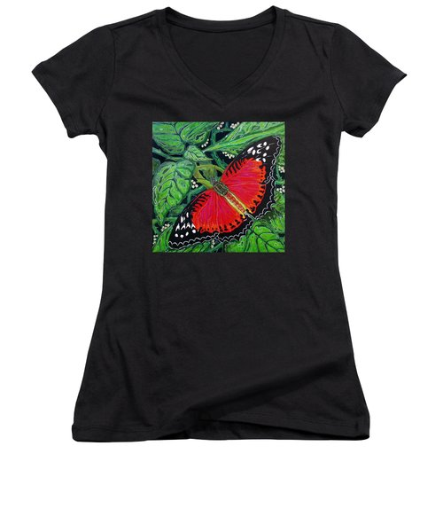 Red Butterfly Women's V-Neck T-Shirt