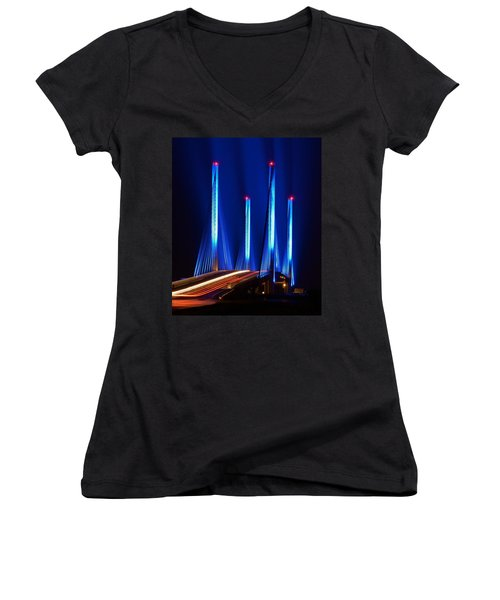 Indian River Inlet Bridge As Seen North Of Bethany Beach In This Award Winning Perspective Photo Women's V-Neck (Athletic Fit)