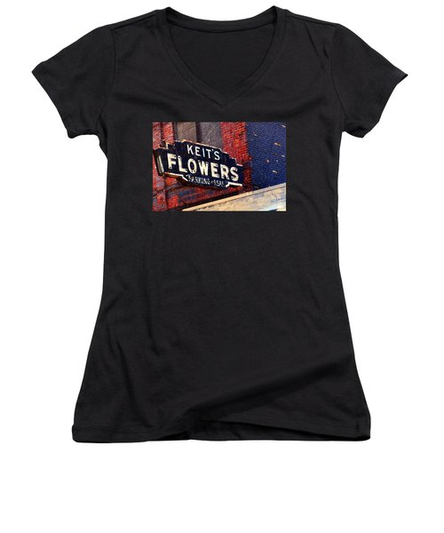 Red White Blue And Rusty Women's V-Neck T-Shirt (Junior Cut) by Desiree Paquette