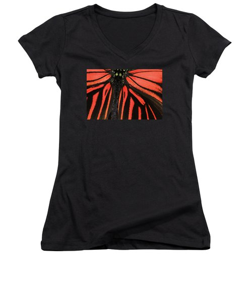 Women's V-Neck T-Shirt (Junior Cut) featuring the photograph Red Wings by Sonya Lang