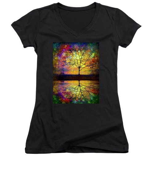 Reflected Dreams Women's V-Neck T-Shirt (Junior Cut)