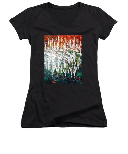 Reflecting Sails Women's V-Neck T-Shirt (Junior Cut) by George Riney