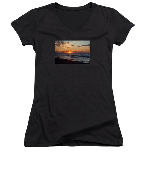 Women's V-Neck T-Shirt (Junior Cut) featuring the photograph Reflection by Barbara McMahon