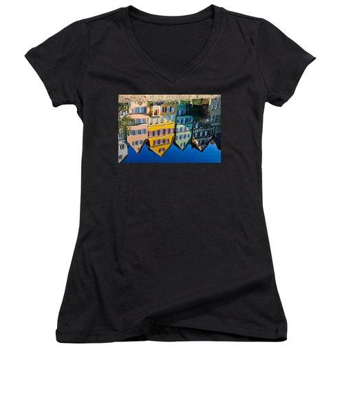 Reflection Of Colorful Houses In Neckar River Tuebingen Germany Women's V-Neck T-Shirt (Junior Cut) by Matthias Hauser