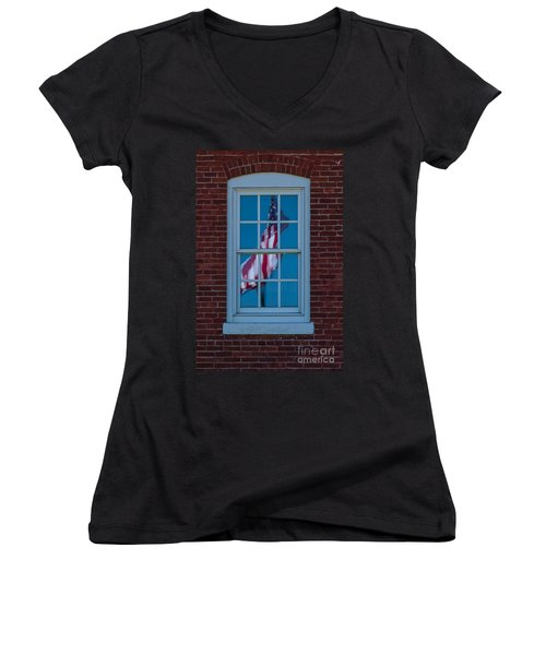 Women's V-Neck T-Shirt (Junior Cut) featuring the photograph Reflection Of Freedom by Patrick Shupert