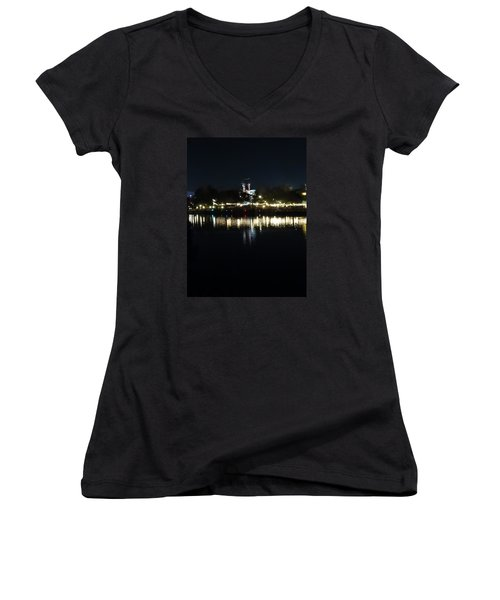 Reflection Of Lights Women's V-Neck T-Shirt (Junior Cut) by Kathy Long
