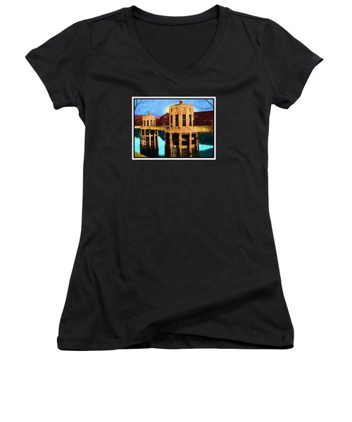 Women's V-Neck T-Shirt (Junior Cut) featuring the photograph Reflections At Hoover Dam by Glenn McCarthy Art and Photography
