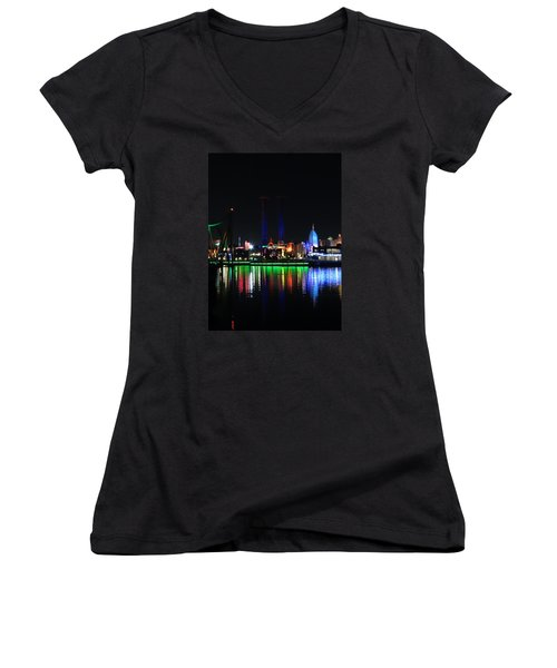 Reflections At Night Women's V-Neck T-Shirt (Junior Cut) by Kathy Long