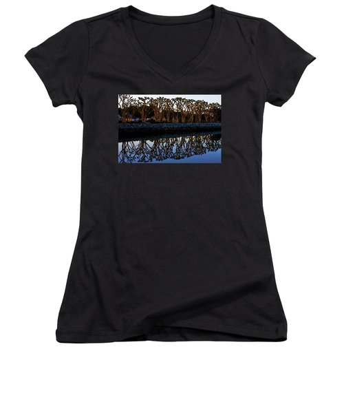 Women's V-Neck T-Shirt (Junior Cut) featuring the photograph Reflections In First Light by Gary Holmes