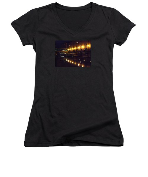 Women's V-Neck T-Shirt (Junior Cut) featuring the photograph Reflections by Jean Walker