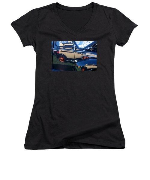 Women's V-Neck T-Shirt (Junior Cut) featuring the photograph Reflections by Joe Kozlowski