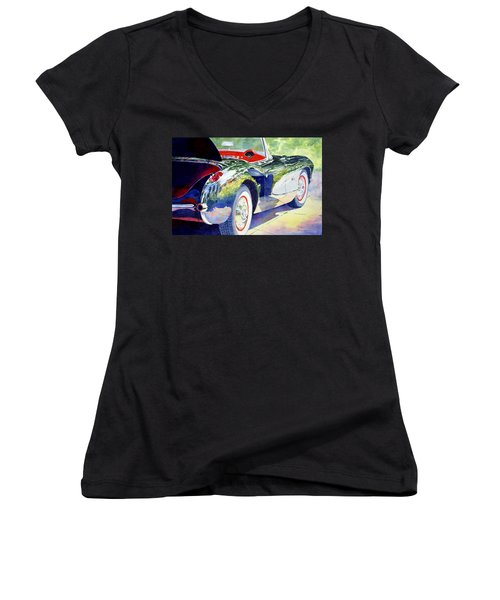 Reflections On A Corvette Women's V-Neck T-Shirt