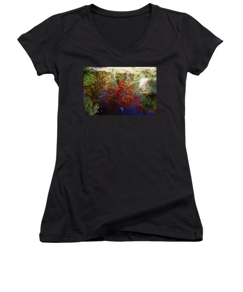 Women's V-Neck T-Shirt (Junior Cut) featuring the photograph Reflections On Algonquin by David Porteus