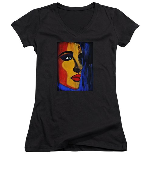 Women's V-Neck T-Shirt (Junior Cut) featuring the painting Reign Over Me 2 by Michael Cross