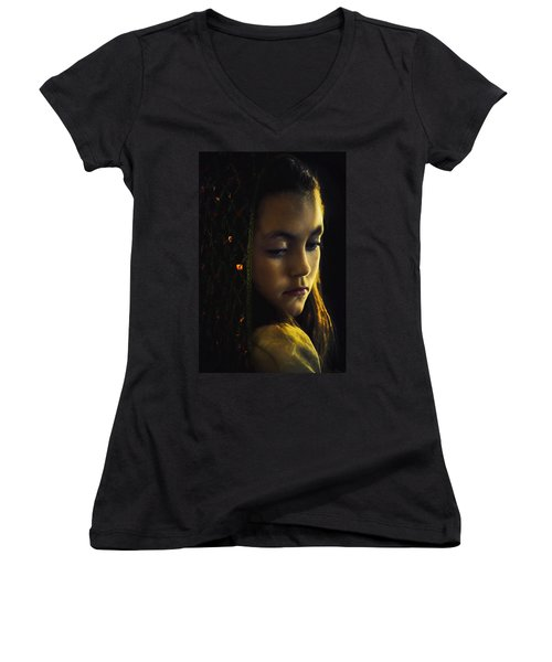 Women's V-Neck T-Shirt (Junior Cut) featuring the photograph Remembering by John Rivera