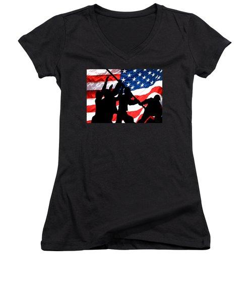 Remembering World War II Women's V-Neck T-Shirt (Junior Cut) by Bob Orsillo