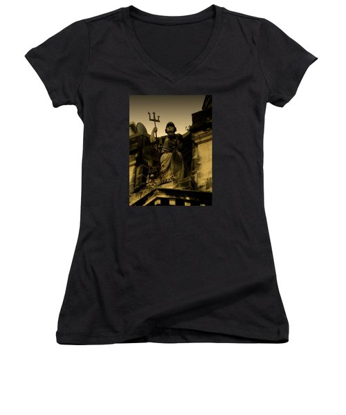 Women's V-Neck T-Shirt (Junior Cut) featuring the photograph Trident To The Sky by Salman Ravish