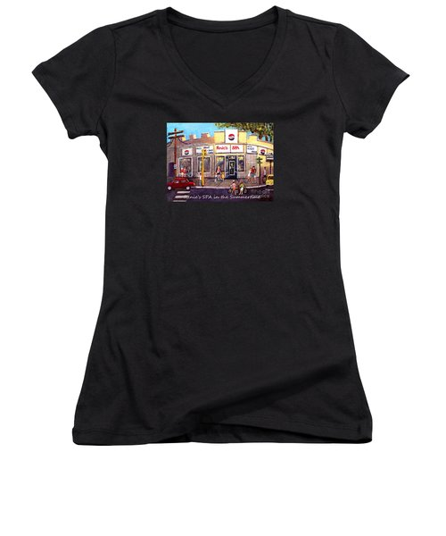 Renie's Spa In Summertime Women's V-Neck (Athletic Fit)