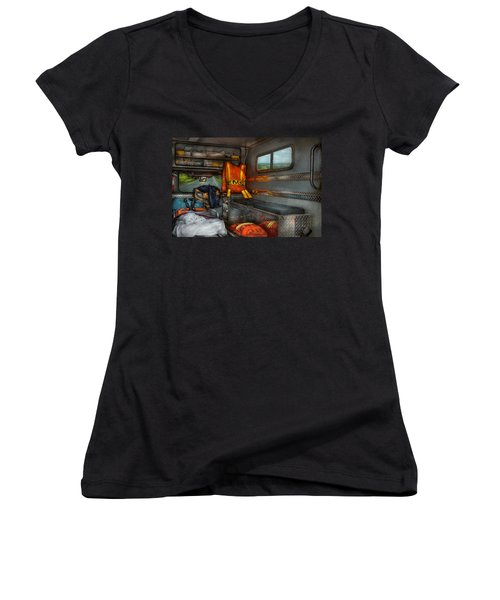 Rescue - Emergency Squad  Women's V-Neck T-Shirt (Junior Cut) by Mike Savad