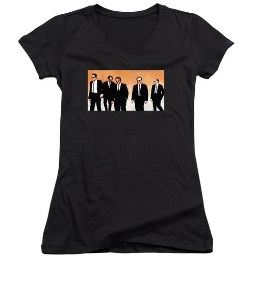 Women's V-Neck T-Shirt (Junior Cut) featuring the painting Reservoir Dogs Movie Artwork 1 by Sheraz A