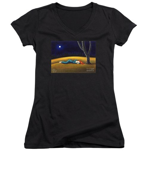 Women's V-Neck T-Shirt (Junior Cut) featuring the drawing Rest For A Weary Heart by Danielle R T Haney
