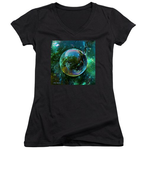 Reticulated Dream Orb Women's V-Neck T-Shirt (Junior Cut) by Robin Moline