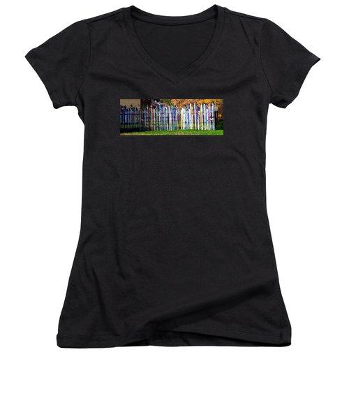 Women's V-Neck T-Shirt (Junior Cut) featuring the photograph Retired Skis  by Jackie Carpenter
