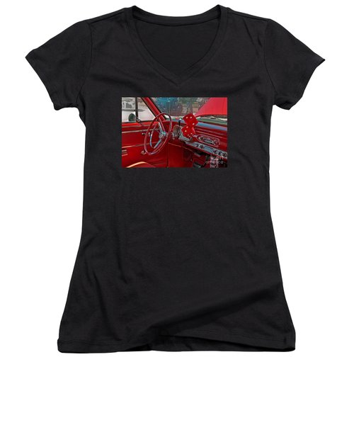 Retro Chevy Car Interior Art Prints Women's V-Neck T-Shirt (Junior Cut) by Valerie Garner
