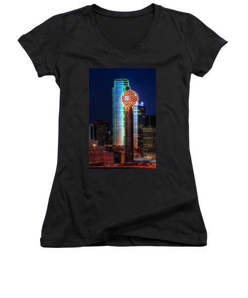 Reunion Tower Women's V-Neck (Athletic Fit)