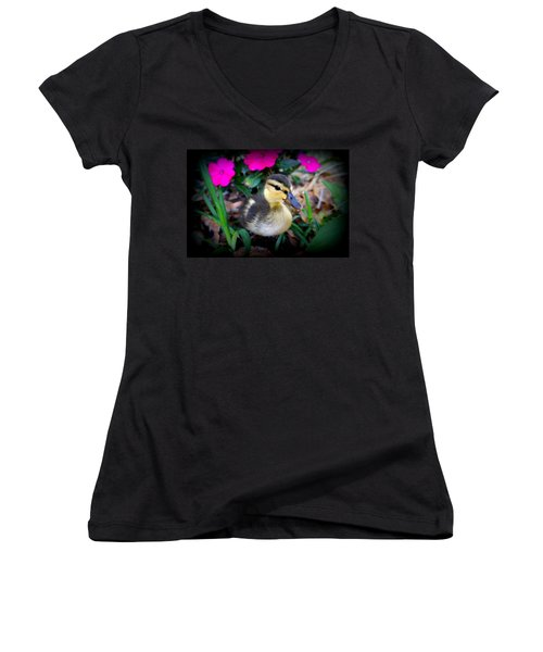 Women's V-Neck T-Shirt (Junior Cut) featuring the photograph Reynolds by Laurie Perry