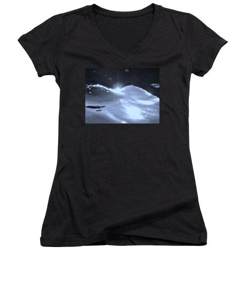 Moon Sunset Women's V-Neck T-Shirt (Junior Cut) by Deborah Moen