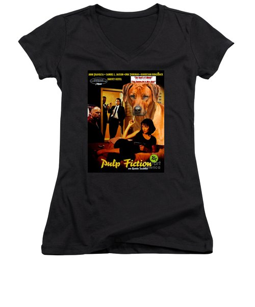 Rhodesian Ridgeback Art Canvas Print - Pulp Fiction Movie Poster Women's V-Neck (Athletic Fit)